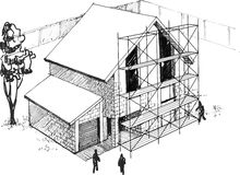 Process of construction of residential houses. Excellent chart Royalty Free Stock Photography