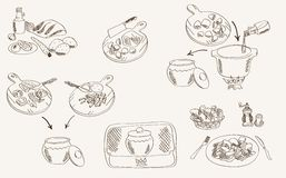 Process of cooking beef in a pot. Set of vector sketches Stock Photo