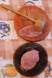 Process of cooking of chops, meat and hammer Royalty Free Stock Photo