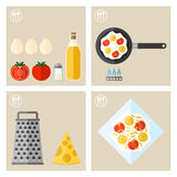 Process of cooking eggs, recipe, cooking and icons food Stock Images