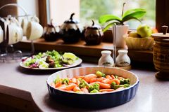 Process of cooking home made Thanksgiving Vegetables royalty free stock photo