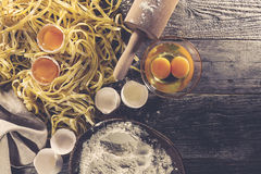 Process of cooking pasta with raw fresh ingredients for classic Stock Photos