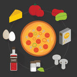 Process of cooking pizza. A set of ingredients for pizza. Vector graphics stock illustration