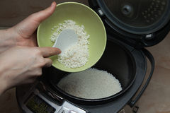 The process of cooking rice porridge in multicooker closeup. The process of cooking rice in a slow cooker to prepare lazy cabbage rolls or meatballs closeup stock image