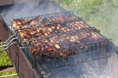 The process of cooking shish kebab. royalty free stock image