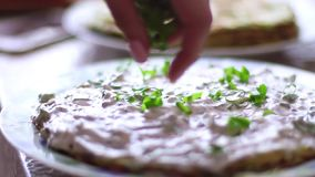 Process of cooking vegetable cake with cream stock footage