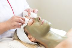 Process cosmetic mask of massage and facials Stock Photos