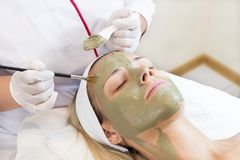 Process cosmetic mask of massage and facials Stock Image