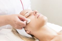 Process cosmetic mask of massage and facials Stock Photo