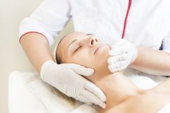 Process cosmetic mask of massage and facials Royalty Free Stock Images