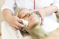 Process cosmetic mask of massage and facials Royalty Free Stock Image