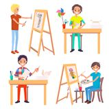 Process of Creating Art Picture and Making Origami royalty free illustration