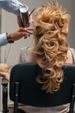 Process of evening creating hairstyles for a girl with long blond hair by a master hairdresser stock images