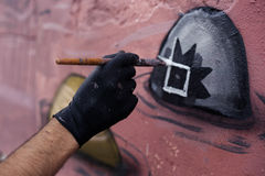 The process of creating graffiti Royalty Free Stock Image