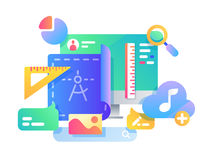 Process of creating web page design. Adding service icons to application. Vector illustration Stock Images