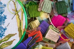 The process of cross-stitch. Canvas on hoops, needles, embroidery floss and pattern. Copy paste Stock Image