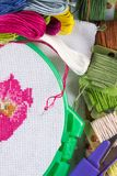 The process of cross-stitch. Canvas on hoops, needles, embroidery floss and pattern. Copy paste Stock Photo