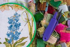 The process of cross-stitch. Canvas on hoops, needles, embroidery floss and pattern. Copy paste Royalty Free Stock Photos