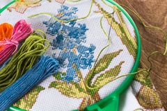 The process of cross-stitch. Canvas on hoops, needles, embroidery floss and pattern. Copy paste Stock Photography