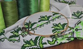 The process of cross stitch products wooden hoop Stock Photography