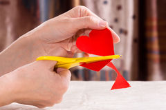 Process of cutting  paper heart for Valentine's day Stock Photo