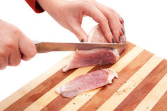 Process of cutting of pork Royalty Free Stock Photo