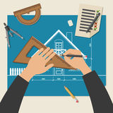 Process of designing the house. Royalty Free Stock Photo