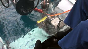Process of dive submarine underwater in Pacific Ocean. stock footage