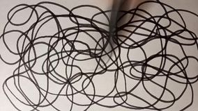 The process of drawing chaos black felt-tip pen. Video art graphics.