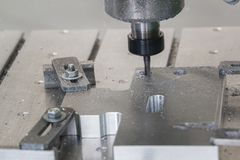 Process drilling of metal detail for production CNC machine at factory. Close up Stock Images