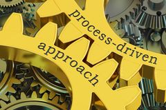 Process-driven approach concept on the gearwheels, 3D rendering. Process-driven approach concept on the gearwheels Royalty Free Stock Photos