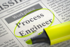 Process Engineer Hiring Now. 3d. Process Engineer - Advertisements and Classifieds Ads for Vacancy in Newspaper, Circled with a Yellow Highlighter. Blurred Royalty Free Stock Image