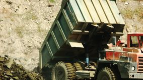 Process of extraction of iron ore in mine. stock footage