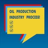 Process för bransch för handskrifttextoljeproduktion Begrepp som betyder bunten för bearbeta för oljaföretag industriellt av royaltyfri illustrationer