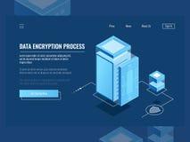 Process för datakryptering, digital information om skydd, serverrum, isometrisk vektor för molnlagring stock illustrationer