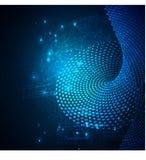 Process för datasorteringflöde Stort futuristiskt infographic för dataström Färgrik partikelvåg med bokeh Royaltyfri Foto