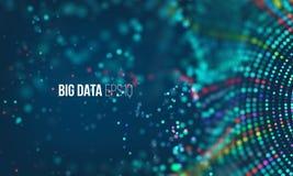 Process för datasorteringflöde Stort futuristiskt infographic för dataström Färgrik partikelvåg med bokeh stock illustrationer