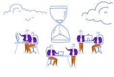 Process för idékläckning för teamwork för symbol för klocka för sand för begrepp för ledning för tid för stopptid för affärsfolk  stock illustrationer