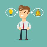 The process of finding a solution. Businessman with ideas - stands in front of bulbs elements. cooperate concept Royalty Free Stock Photography