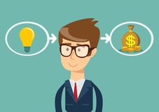 The process of finding a solution. Ideas are equal to money. the process of finding a solution. thinking or problem solving business concept Royalty Free Stock Photo