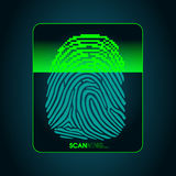 The process of fingerprint scanning - digital security system. The access control system, security, data protection Royalty Free Stock Photos