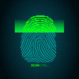 The process of fingerprint scanning - digital security system. The access control system, security, data protection Royalty Free Stock Images