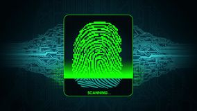 The process of fingerprint scanning - digital security system, the result of the fingerprint scan access denied