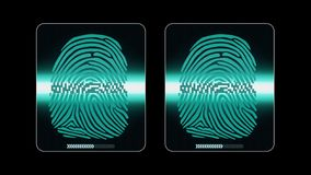 The process of fingerprint scanning - digital security system, two result - access granted and denied, alpha matte stock illustration