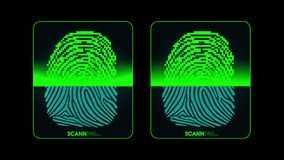 The process of fingerprint scanning - digital security system, two result - access granted and denied, alpha matte