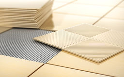 Process of floor coating. Ceramic tile on a tiled floor. 3d illustration Stock Photo