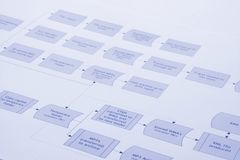 Process Flow. Close up of a business process flow report Stock Photography