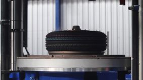 Process of forming tires in a factory.