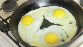 The Process of Frying Eggs in a Skillet stock footage