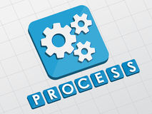 Process and gear wheels symbol, flat design web icon Stock Images